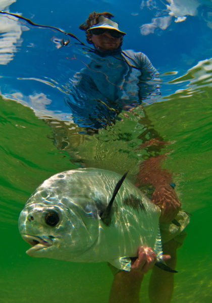 Fly fishing in Espiritu Santo Bay Mexico