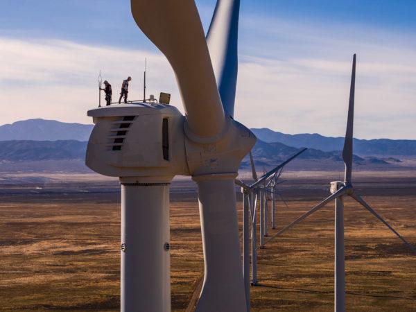 Wind tower workers on top, Milford Utah